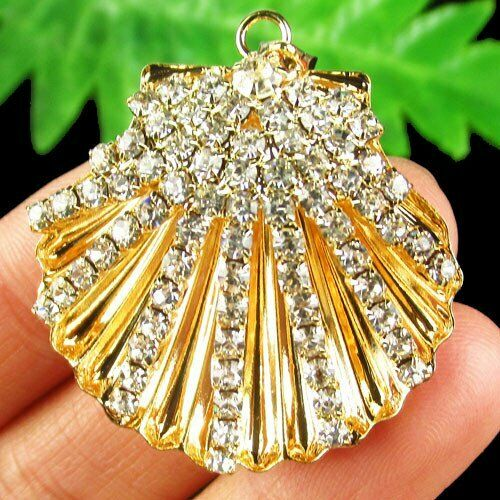Carved Tibetan Sliver Golden Inlay Pave Crystal Shell Pendant Bead
