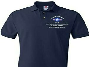 332ND AIR EXPEDITIONARY AL JABER KUWAIT  EMBROIDERED POLO SHIRT/SWEAT/JACKET.