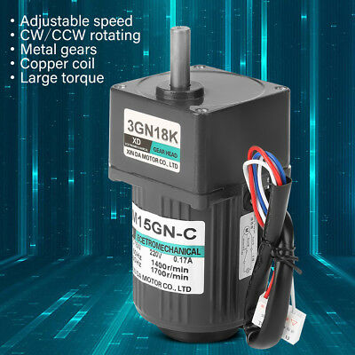 90W Worm Speeds Reduction Gear Motor High Torques CW CCW Motor with Governor AC 220V 20K