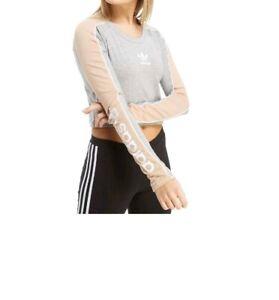 9ae0834c09a2 Image is loading Adidas-Originals-Linear-Long-Sleeve-Crop-Ladies-Top-