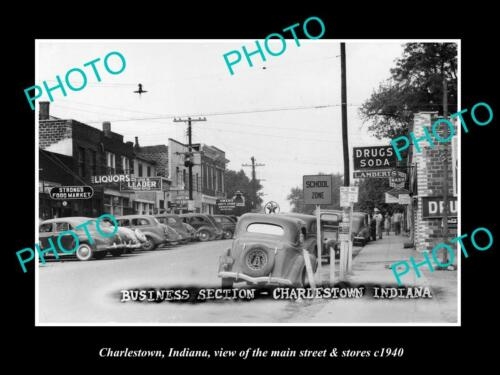 OLD 6 X 4 HISTORIC PHOTO OF CHARLESTOWN INDIANA, THE MAIN STREET & STORES 1940 2
