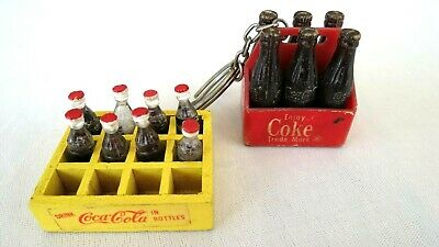 Coca Cola KEY CHAIN---Six Bottles in Carton 1 3//4 Inches Tall 1980/'s