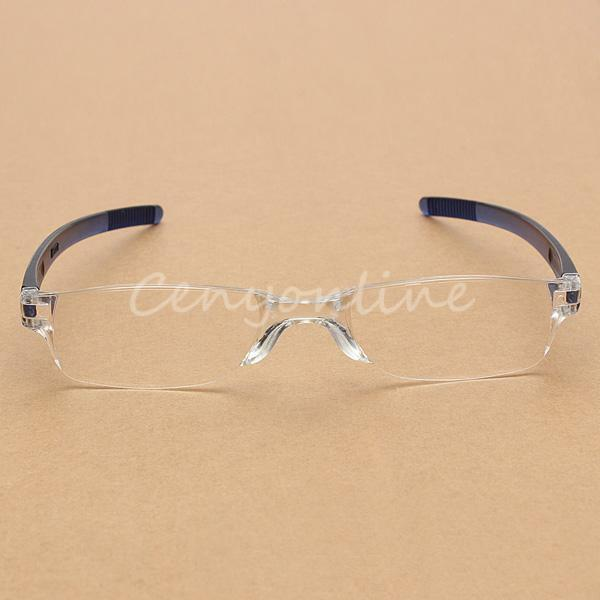 NEW Fashion Blue Rimless Reading Glasses Presbyopic Eyeglass +1/+1.5/+2/+2.5/+3