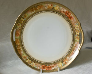 RS-Germany-Handled-Cake-Plate-Floral-Band-Gold-Edging-Tillowitz-Schlegelmilch