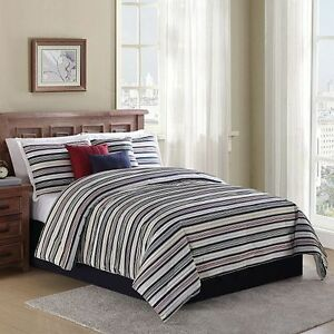 Home Classic 7 Pcs Bed Comforter Set Multi Color Rugby Stripe New Ebay