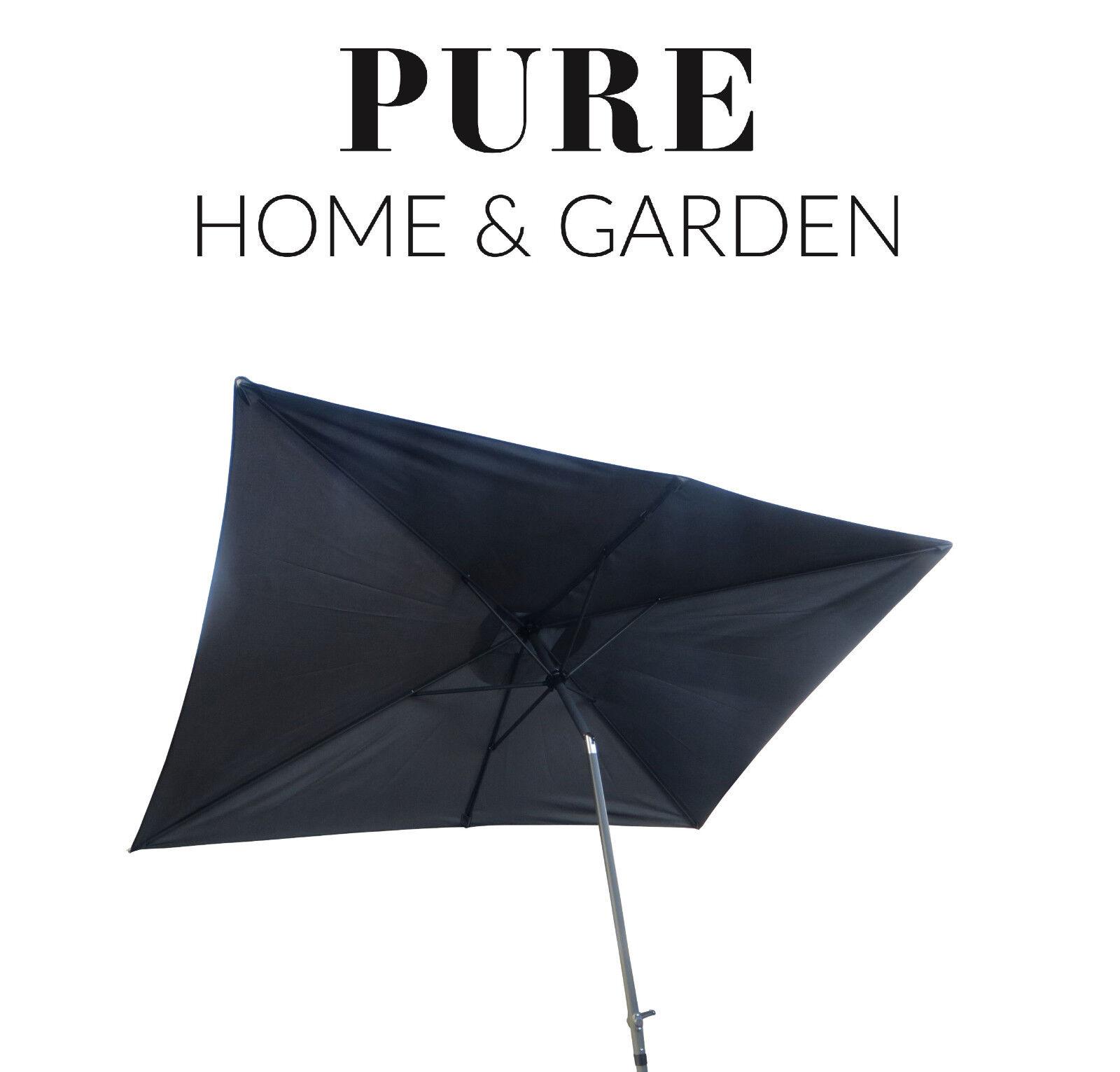 Parasol 2 x 3 m manivela paraguas jardín paraguas balcón paraguas knickbar aluminio gris P