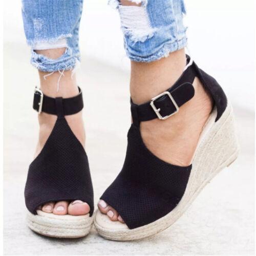 Women Espadrilles Platform Wedge Sandals Buckle Peep Toe Ankle Strap Casual Shoe