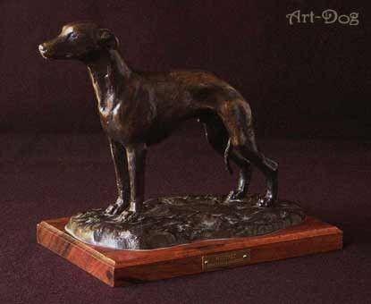 Whippet - dog figurine on on on wooden base high quality Art Dog f11b42