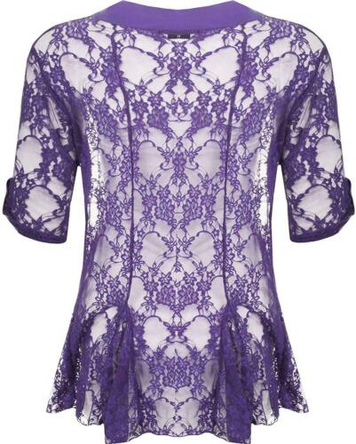 Ladies Waterfall Open Cardigan Top Womens New Floral Lace Short Sleeve Plus Size