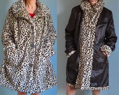 East 5th leopard faux fur coat knee-length reversible rhinestone buttons XL