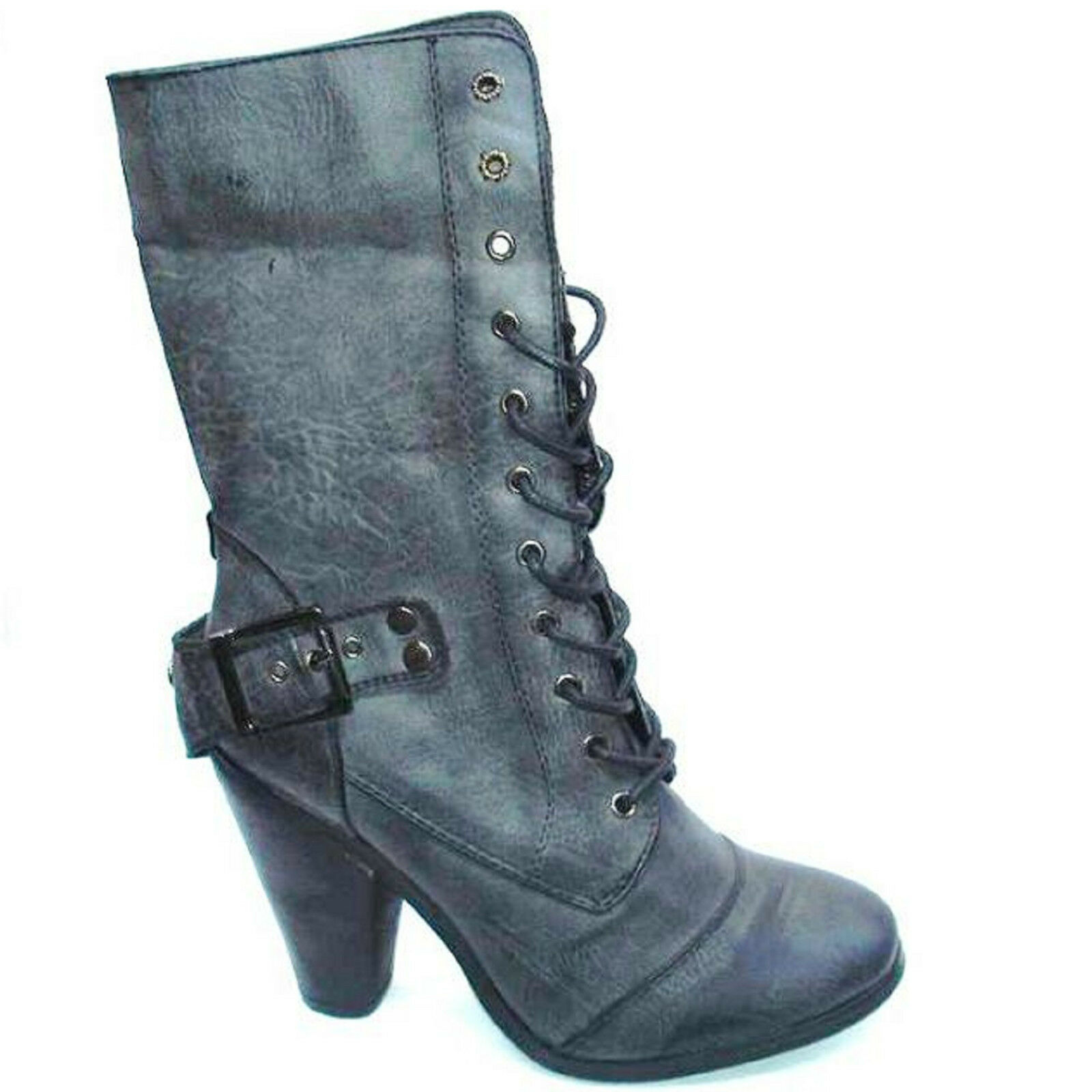 NEW WOMENS LADIES FASHION MILITARY ARMY SHOES HIGH HEEL ANKLE BOOTS SIZE UK F-85