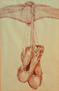 """AUSTRALIAN INK AND WASH DRAWING JANE C HYLAND -THE END OF BALLET SHOES"""" 1981 P74"""