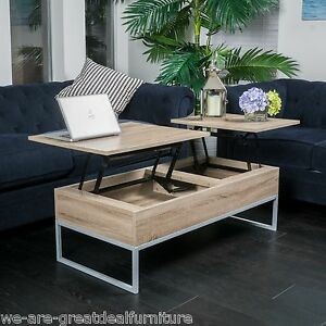 rustic modern natural brown wood lift top storage coffee table | ebay