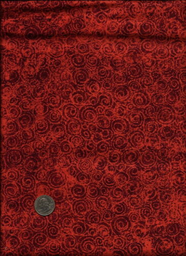 """Maywood Studio /""""Concepts In Color/"""" Print on drk orange red Fabric"""