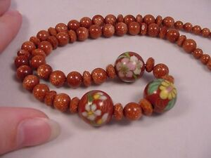 (v440-A) Orange gold Goldstone + Brown Cloisonne 21 Beaded Necklace JEWELRY