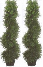2 TOPIARY 3' ARTIFICIAL OUTDOOR TREE UV CYPRESS SPIRAL CEDAR PINE PORCH 4 PATIO