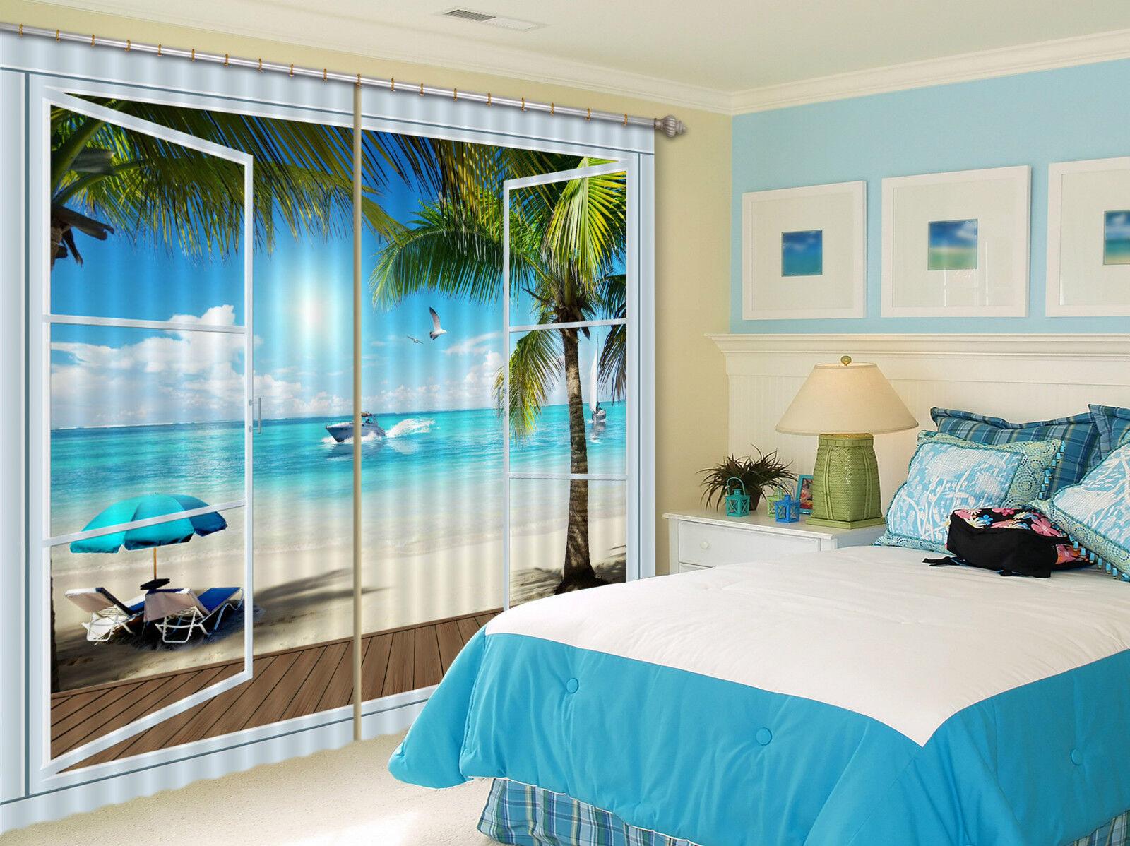 3D árboles mar 58 Cortinas de impresión de cortina de foto Blockout Tela Cortinas Ventana CA