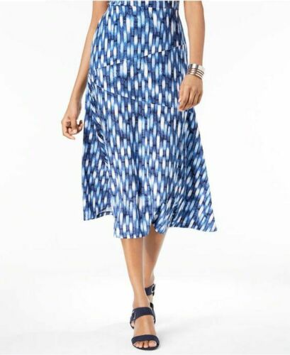 JM Collection Petite Printed Jacquard A-Line Skirt Beach Blue High Tide NWT P//M