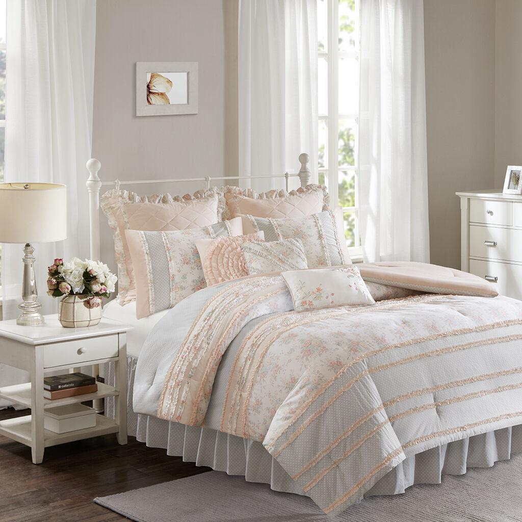 Beautiful Pink Grey Floral Ruffle Dots Cotton Comforter Cal King Queen 9 pcs Set