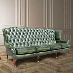 Queen Anne High Back Wing Sofa Antique