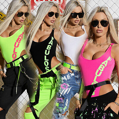 By Alina Damen Body Bodie Bodysuit Hoher Beinausschnitt T-shirt Print Neon Xs-m