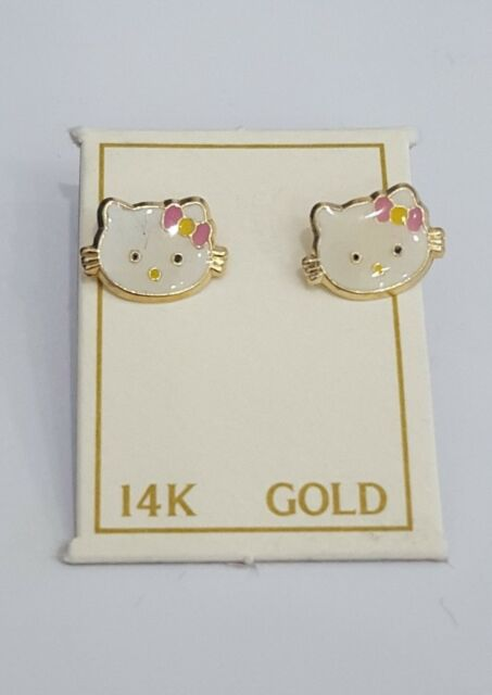14k Yellow Gold Enamel Hello Kitty Baby Screw Back Earrings Pink Ebay