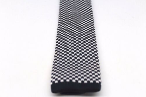 """Check Plaid Houndstooth Knit Knitted Neck Tie Woven Slim Square 2.5/"""" Navy White"""