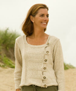 Chic Button Tab Pullover 33 52 Aran Knitting Pattern