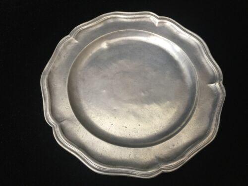 "9/"" Diameter Hallmark Crowned Rose Rare Antique 18th C Pewter Plate"