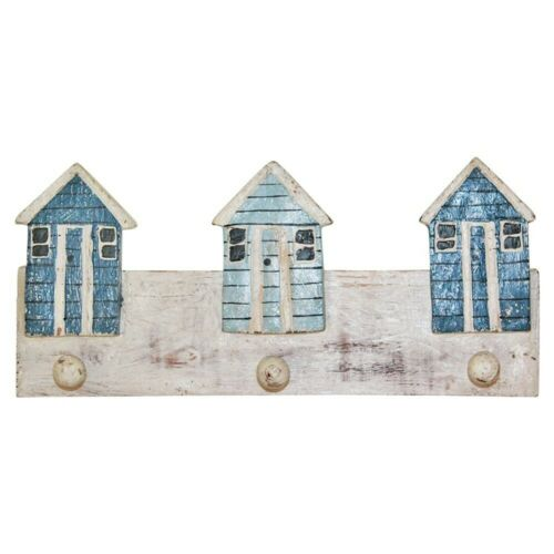 Blue /& White Wooden 35cm x 16cm Keys//Coat Hanger Rack with Beach Houses