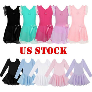 US-Kids-Girls-Ballet-Dance-Dress-Gymnastics-Leotard-Ballerina-Dancewear-Costume