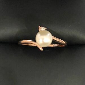 5mm-White-Freshwater-Pearl-Ring-Wedding-Engagement-Jewelry-14K-Gold-Sizable