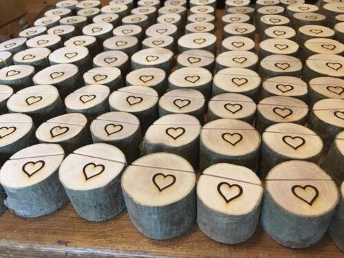 65 rustique en bois carte photo Porte-mémo mariage nom de table Support Coeur Gravé