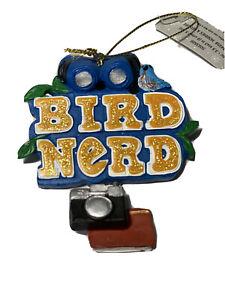Bird-Nerd-Ornament-Christmas-Bird-Watcher-Blue-Resin