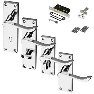 Chrome-Door-Handle-Polished-Set-Pack-Mortice-Latch-Lock-Bathroom-Privacy-Scroll