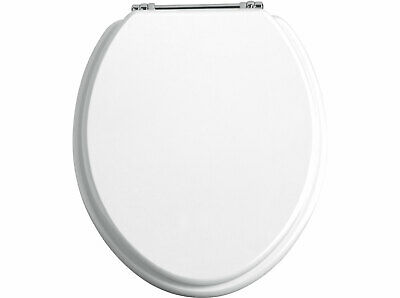 Heritage Solid Toilet Seat with Soft Close Chrome Hinge White Gloss TSWGL101SC
