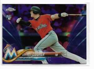 2018 Topps chrome baseball Purple refractor parallel Garrett Cooper RC 026/299