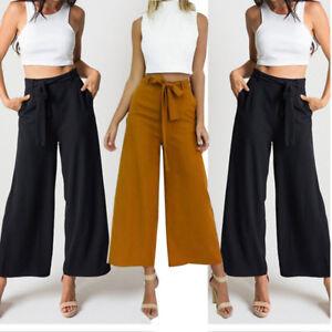 Fashion-Women-Palazzo-Pants-Ladies-High-Waist-Wide-Leg-Culottes-Long-Trousers-CA