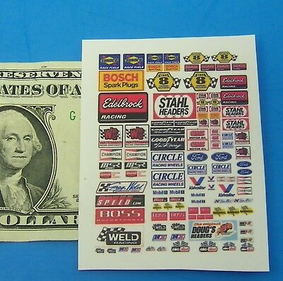 HO 1:87 Slot Car OR Diecast WHITE BACK Waterslide DECALS,BUILDINGS,CAR CHEVY !!