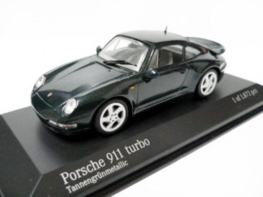 RARE MINICHAMPS PORSCHE PORSCHE PORSCHE 911 993 TURBO FIR GREEN METALLIC 1 43 MINT 1  1444 403a3a