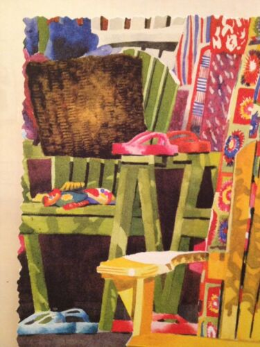 Linda Baker All Decked Out Limited Edition Giclee Print Yellow Adirondack Chair
