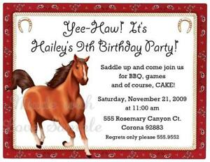 10 Horse Cow Boy Cow Girl Birthday Party Invitations Printed And