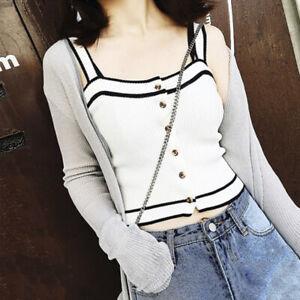 Womens-Korean-Striped-Singlet-Vest-Buttons-Slim-Sleeveless-Fashion-Tank-Top-gu