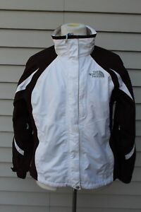 d1b20c82f Details about Womens Medium The North Face Hyvent Full Zip Windbreaker Rain  Jacket Brown White