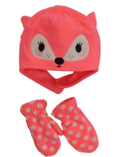 Infant /& Toddler Girls Pink Fleece Fox Trapper Hat /& Mittens Beanie Set