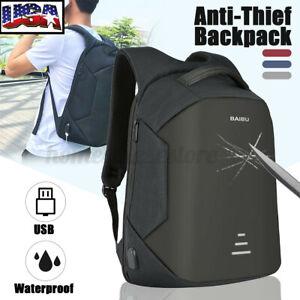 Men Anti-Theft USB Charging Travel Shoulder Laptop Backpack Notebook School Bag