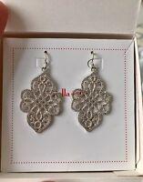 Stella & Dot Chandeliers Earrings Joyce Brass With Silver Plating Cz Stones