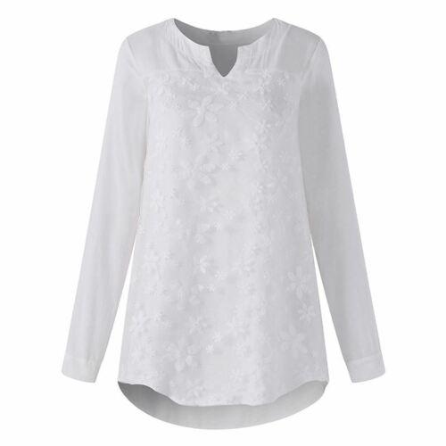 Frauen bestickt V-Ausschnitt Langarmshirts Casual elegante Spitze Patchwork B 2I
