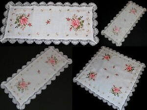 Incroyable Roses Lin Nappe Chemin De Table Couverture Brode