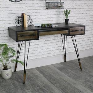 Grande Rétro Industriel Bureau/Coiffeuse en épingle à cheveux jambes Vintage Furniture